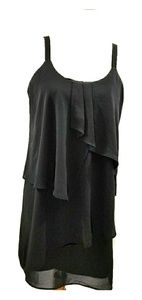 Adelyn Rae Strappy Back Layered Black Dress Sz XS